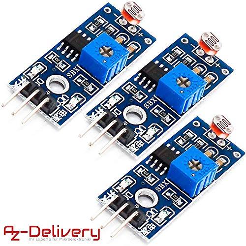 AZDelivery 3 x Foto Widerstand Photoresistor Licht Sensor Modul LDR5528 kompatibel mit Arduino inklusive E-Book!