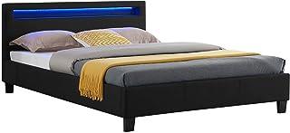 IDIMEX Lit Double pour Adulte Rioja Couchage 140 x 190 cm avec sommier 2 Places pour 2 Personnes, tête de lit avec LED int...