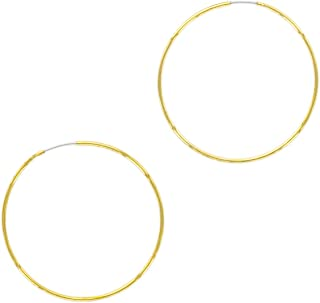 14K Gold or Rhodium Plated Thin Endless Hoop Earrings - Lightweight Wire Hoops