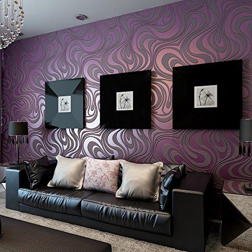 KeTian Moderne Wandtapete abstrakte 3D-Kurven, Vlies-Beflockungs-Streifen, für Wohnzimmer und Schlafzimmer, Tapetenrolle violett, 0.7m (2.29' W) x8.4m(27.56' L)=5.88m2 (63.11sq.ft)