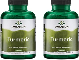 Swanson Premium Brand Turmeric Whole Root Powder 720 mg, 240 Capsules-2 Count,