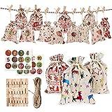 Tdbest - 24 Calendario de Adviento para rellenar – Bolsitas de regalo con 2 números de Adviento 1 – 24 pegatinas para calendario de Navidad DIY – Set de manualidades para niños para rellenar uno mismo