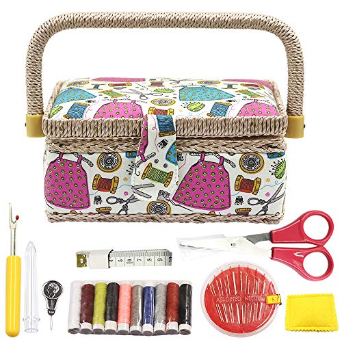 Sewing Basket with Sewing Kit Accessories,Small Sewing Organizer Box with Supplies DIY Sewing Kit for Kids (Multicolored)