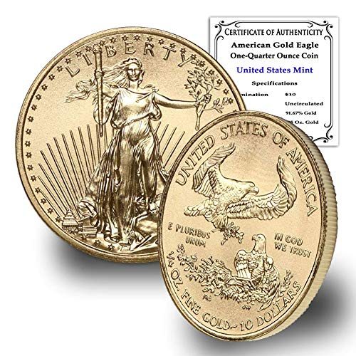 1986 – Present (Random Year) 1/4 oz Gold American Eagle Coin Brilliant Uncirculated with Certificate of Authenticity by…