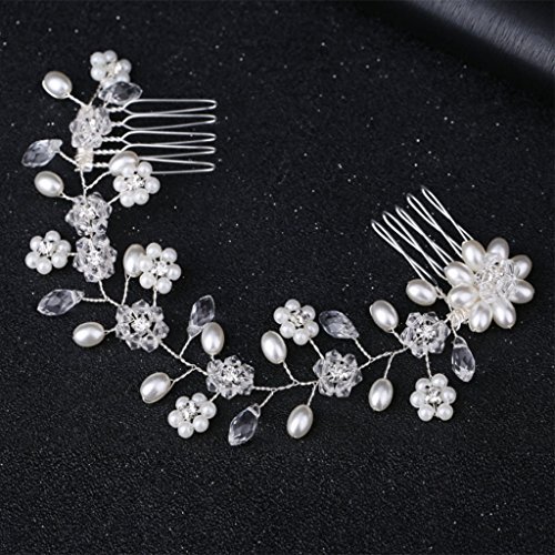 niumanery Bride Hair Band with Comb Crystal Pearl Women Jewelry Wedding Headwear Ornaments