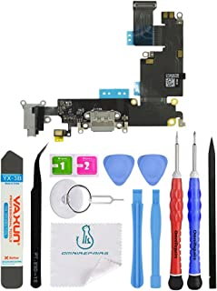 OmniRepairs Charging USB Dock Port Flex Cable Replacement with Microphone and Headphone Audio Jack Compatible for iPhone 6 Plus Model (A1522, A1524, A1593) with Premium Repair Toolkit (Gray)