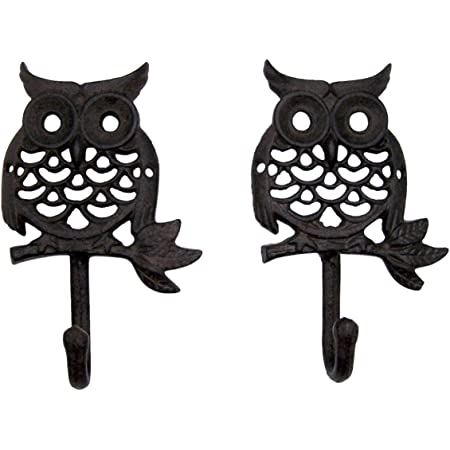 Wise Owl Wall Hooks Set Of 3 Antique Brown Hangers For Coats Aprons Hats Towels Pot Holders More Office Products