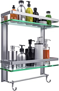 Vdomus Tempered Glass Bathroom Shelf with Towel Bar Wall Mounted Shower storage, Brushed Silver Finish