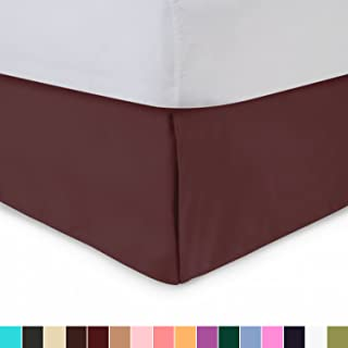 Harmony Lane Tailored Bed Skirt - 14 inch Drop, Burgundy, Queen Bedskirt with Split Corners (Available in and 16 Colors)