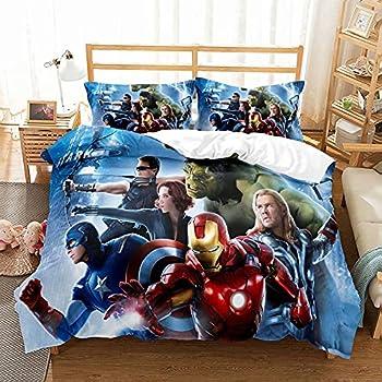 Haonsy Avengers Bedding Duvet Cover Bed Set Full Size 3 Piece Superhero Th-or Ironman Hu-lk Captain America Haw-keye Black Widow Comforter Set 1 Duvet Cover + 2 Pillowcase