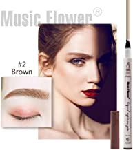 Official Music Flower 4 tips Tattoo Eyebrow Pen Waterproof Fine Sketch Microblading Pencil Smudge-proof Long lasting Natural Brows Looking (Brown)