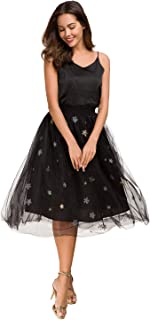 Women's High Waist Tutu Prom Party Midi Skirt Tulle A-line Skirt One-Size