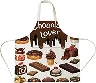 3D Printed Cotton Linen Big Pocket Apron,Kitchen Decor,Chocolate Lover Sweets Cake Decorations Pattern Icecream Retro Style Design Cafe Home,Brown White,for Cooking Baking Gardening