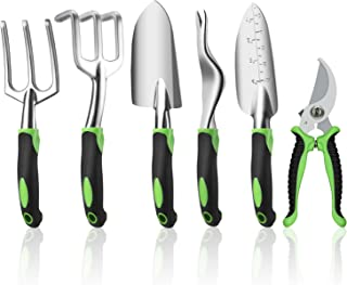 Ougenni Garden Tools Set,6 Pieces Outdoor Gardening Hand Tool Kit,Gardening Tools Set Gifts for Women and Men,Including Sh...
