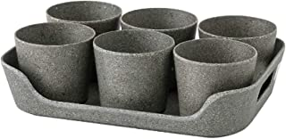 Time Concept Simple Eco Planter Herb Pot Set with Tray - Black, Set of 6 - Vegetable Garden Planter, Indoor & Outdoor Home...