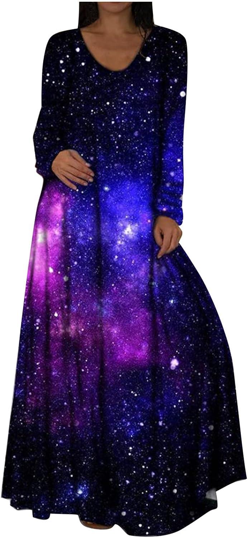 Women's Casual Loose Long Dress Scoop Neck Long Sleeve Side Split Hide Belly Tie Dye Tunic Maxi Dresses T Shirt Sundress