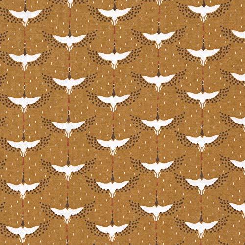 Higgs & Higgs - Kranen - Main - Mosterd - Katoen Stof Franse Mode metre Flocking Cranes - Main - Mustard