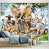 Kindertapete - Wandtapete - Fototapete Dschungel-Safari + Tapetenkleister