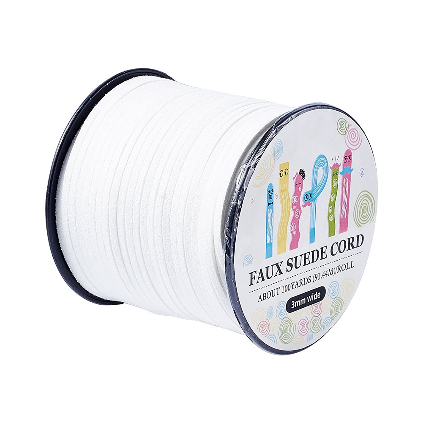 Pandahall 98Yard 90m/roll 3x1.4mm Faux Suede Cord String Leather Lace Beading Thread Suede Lace Double Sided with Roll Spool 295feet White