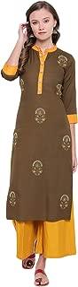 Vbuyz Women's Embroidered Straight Rayon Mehendi Green Kurti with Palazzo Set(VF-PL-628)