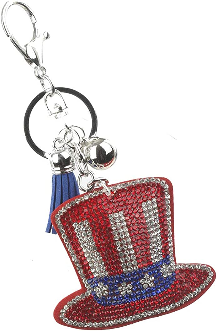 Keychains Keyrings ~ Crystal American Flag Hat Stuff Pillow Purse Bag Charms Key Chain for Women Birthday Gifts