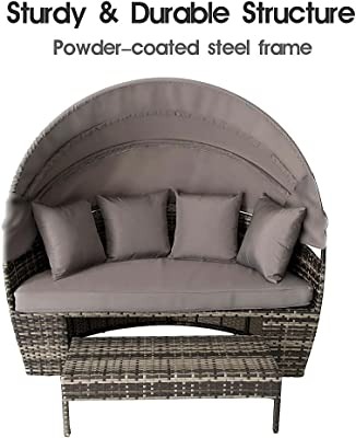 Garden Patio Poly Rattan Chair Sunbed with Retractable Canopy Mix Grey