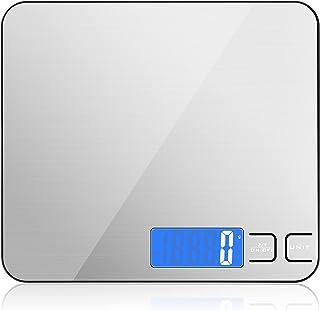 Diyife 15kg Báscula de Cocina, Acero Inoxidable Báscula Digital con Gran Panel de Pesaje, Cuadrado Bascula de Alimentos Mu...