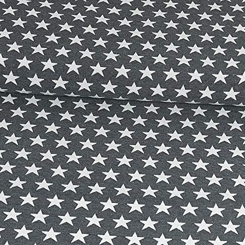 Gobelinstoff Sterne anthrazit Canvasstoff Doubleface - Preis gilt für 0,5 Meter