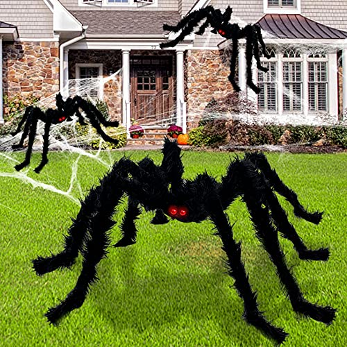 TURNMEON 3 Pack Halloween Hairy Spiders Decorations Set with Different Sizes Red Eyes Realistic Black Scary Spiders…