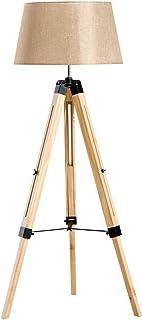 HOMCOM Lámpara de Pie Moderna con Trípode Altura Ajustable 65x65x99-143cm 40W E27 de Madera y Pantalla de Tela Lino