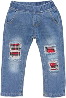 Xifamniy Infant Unisex Babies Spring&Autumn Pants Loose Fit Cotton Ripped Jeans