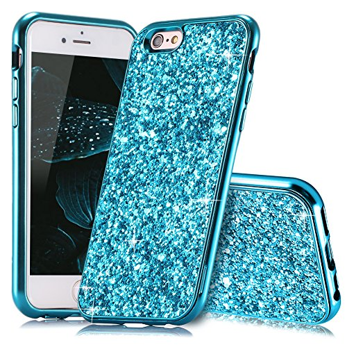 HUDDU Kompatibel mit iPhone 6 Plus Hülle Glitzer iPhone 6S Plus Handyhülle Bling Glitter Case Hart PC Bumper Hard Back Cover Abdeckung Sparkles Schutzhülle für iPhone 6s Plus 5.5 Zoll Blau