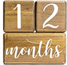 LovelySprouts Premium Solid Wood Milestone Age Blocks   Choose from 2 Stain Options (Walnut)   Baby Age Photo Blocks   Perfect and Keepsake