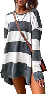 S-Fly Women Stripe Crew Neck High Low Color Block Casual Long Sleeve T Shirts