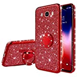 Robinsoni Funda Compatible con Samsung Galaxy J7 2016 Funda Silicona Galaxy J7 2016 Carcasa Transparente Funda TPU Anillo de Rotación de 360 Grados con Brillo Carcasa Flexible Ultra Suave Funda,Rojo