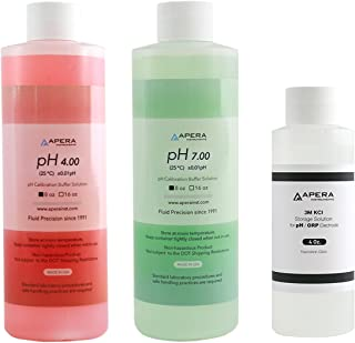 8oz. pH Calibration Buffer Solution Kit (pH 4.00 & 7.00), plus 4oz. 3M KCL Storage Solution for pH/ORP Electrodes