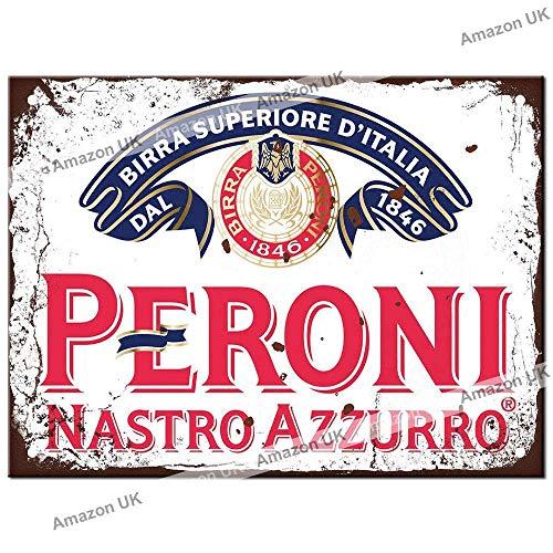 Metal Signs - Peroni Logo. Man Cave Tin Metal Sign Hanging Wall Plaque Kitchen Shed Garage. Medium (20cm x 15cm)
