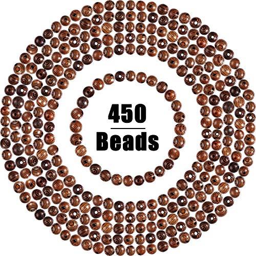 WILLBOND 450 Pièces Perles en Bois Artisanat Rond Perles en Bois 6mm Perles Africaines pour la Fabrication de Bijoux Bracelet Collier, Marron Foncé