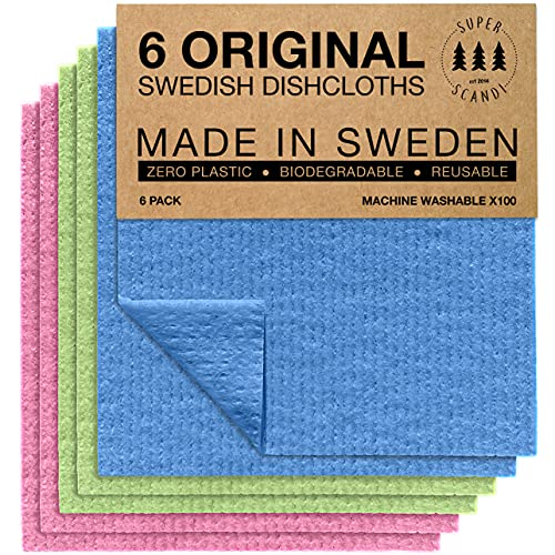 Swedish Dishcloths Eco Friendly Reusable Sustainable Biodegradable Cellulose Sponge Cleaning Cloths for Kitchen Dish Rags Washing Wipes Paper Towel Replacement Washcloths (6 Pack Assorted Colors)