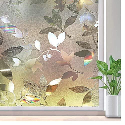 LMKJ Película de privacidad de Ventana Autoadhesivo Estático Adhesivo 3D Vidrio Decorativo Arco Iris Etiqueta de Ventana Extraíble Cubierta de Vinilo Anti-UV I 45x200cm