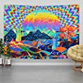 Lyacmy Trippy Tapestry Psychedelic Tapestry Planet and Mountain Tapestry Colorful Mushroom Tapestry Trees Cactus Tapestry Wall Hanging for Room (51.2 x 59.1 inches)