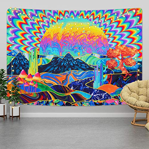 Yrendenge Trippy Wandteppiche Psychedelische Wandtuch Natur Landschaft Mountain Tapisserie Abstrakte Kunst Wandbehang Home Decor für Schlafzimmer Bunte, 130x150cm