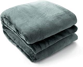 LASE C9 Flanellen deken voor bed en bank, groot, met zachte pool, meerdere kleuren, om te bedekken in koude toestand, grij...