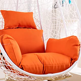 ZMIN Egg Nest Chair Cushion, Thicken Removable Basket Swing Chair Pads Cushion Cover Replacement Rattan Hanging Hammock Cushion Single Without Stand-Orange Cushion