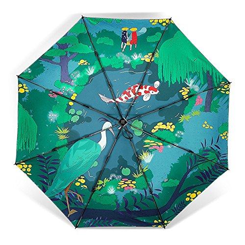 UBLLAS Vinilo/Sombrilla/Novedad/Pequeño/Carpa/Tres Paraguas Plegables/Uv/Lluvia/Sombrilla/Bloqueador Solar/Windbreaka