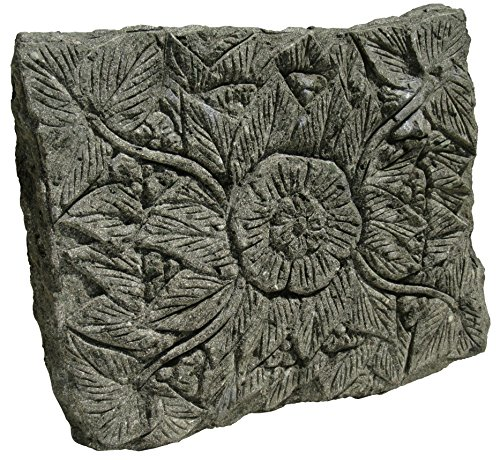 STONE art & more Blüten-Relief, Trittplatte, Trittstein, grüner Lavastein, Naturstein, frostfest