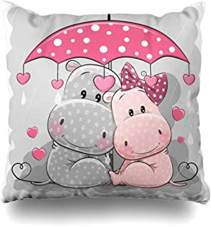 Ahawoso Throw Pillow Cover Decorative Square 16x16 Gray Head Adorable Two Cute Hippos Umbrella Under Animals Wildlife Adult Babies Body Characters Child Zippered Pillowcase Home Decor Cushion Case