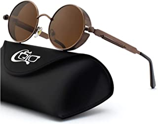 CGID Retro Steampunk Sunglasses With Round Metal Frame, Polarised for Men and Women, E72