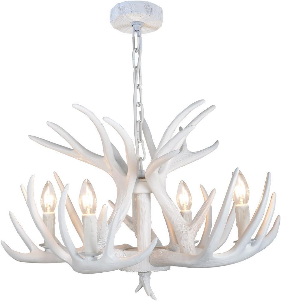 EFFORTINC Resin Bargain sale Antler White Wholesale Chandelier Living