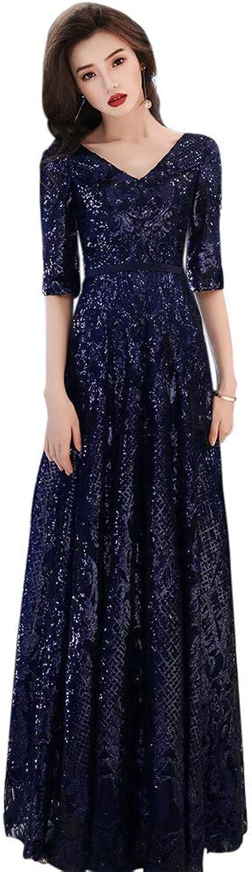Drasawee Women's Empire Waist Lace Long Dress Shining Sequins Party Dresses
